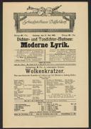 Dichter- und Tondichter-Matinee: Moderne Lyrik