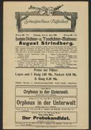 Letzte Dichter- u. Tondichter-Matinee: August Strindberg