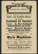 Dichter- und Tondichter-Matinee: Das deutsche Musikdrama der Gegenwart