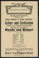 Letzte Matinee in dieser Spielzeit: Kultur und Civilisation