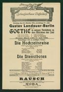 Gustav Landauer, Berlin, spricht über Goethe in seinem Verhältnis zu den Mächten der Zeit